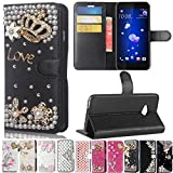 HTC U11 Life Case, Best Share Manual Bling Flip Stand PU Leather Wallet Full Cover Silicone Case with Card Slot for HTC U11 Life, Black-Crown Love