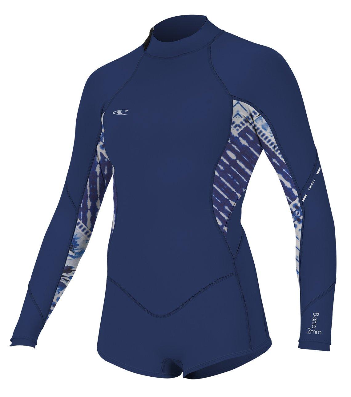O'Neill Women's Bahia 2/1mm Back Zip Long Sleeve Short Spring Wetsuit, Navy, 4