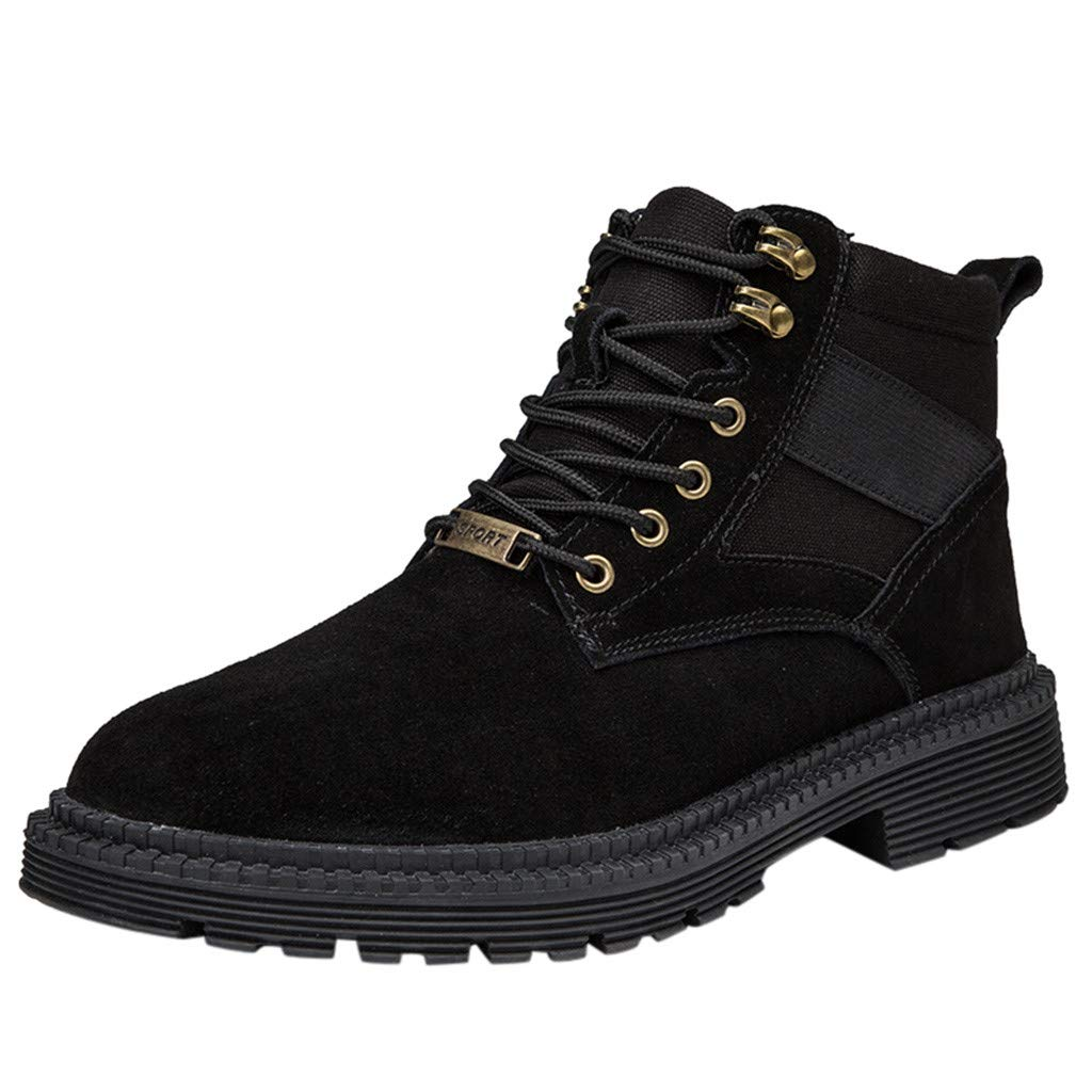 Chenway Young Man Ankle Shoes Lace Non-Slip Plain Outdoor Hiking Shoes to Keep Warm Hiking Boots Black by Chenway