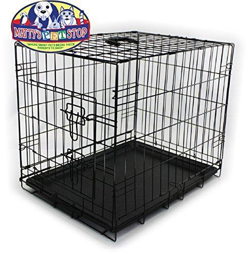 Mattys-Pet-Stop-Folding-Metal-Dog-CrateCage-24-x-18-x-21-Single-Door-with-Handle