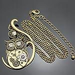 Q&Q Fashion Vintage Ornate 3D Owl Moon Watch Clock Hand Gear Cog Steampunk Chain Fancy Dress Necklace 8