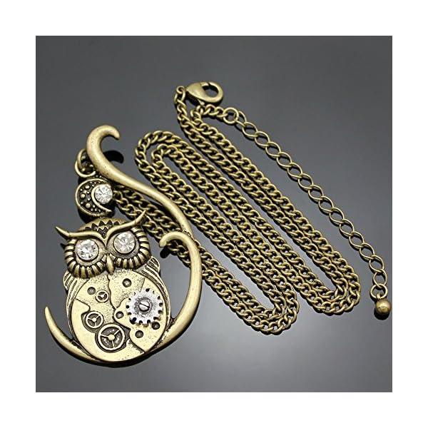 Q&Q Fashion Vintage Ornate 3D Owl Moon Watch Clock Hand Gear Cog Steampunk Chain Fancy Dress Necklace 5