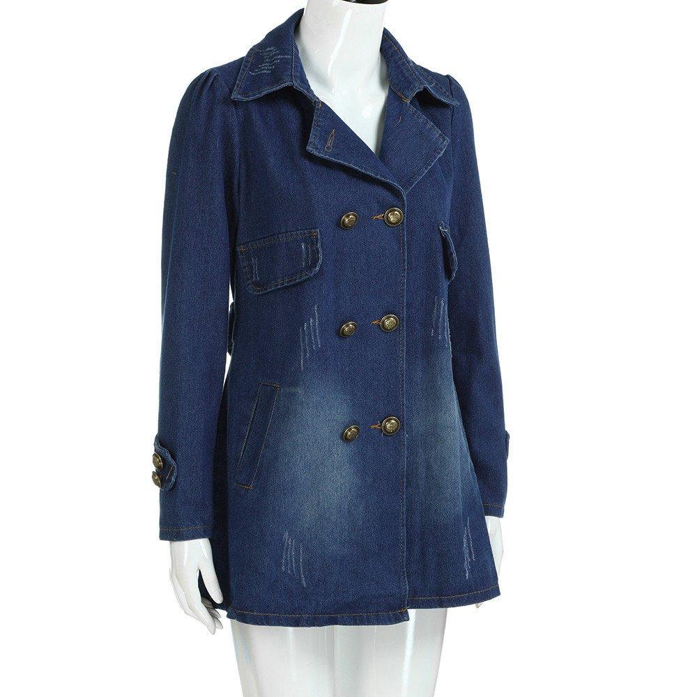 Kulywon Women Fashion Casual Long Sleeve Denim Jacket Long Jean Coat Outwear Overcoat by Kulywon (Image #3)
