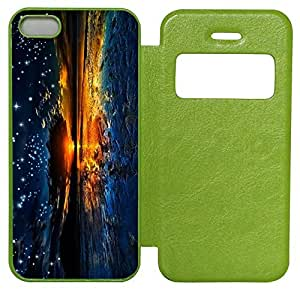 3D Abstract Count The Starry Custom Green Leather Case for iPhone 5S iPhone 5 At Colored Cases Store
