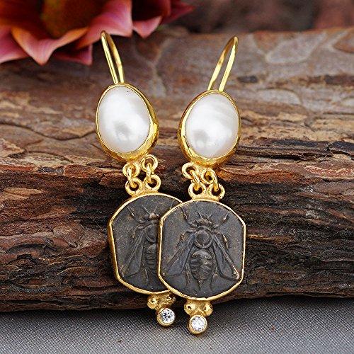 Bee Coin & Pearl Earrings 925 k Sterling Silver Roman Art Turkish Fine Jewelry (Roman Coin Earrings)