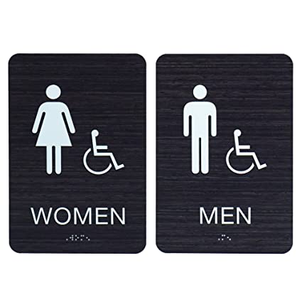 Cool Men Women Ada Restroom Bathroom Signs W Braille Modern Chic Dark Woodgrain With Double Sided 3M Tape Made In Usa Download Free Architecture Designs Xaembritishbridgeorg