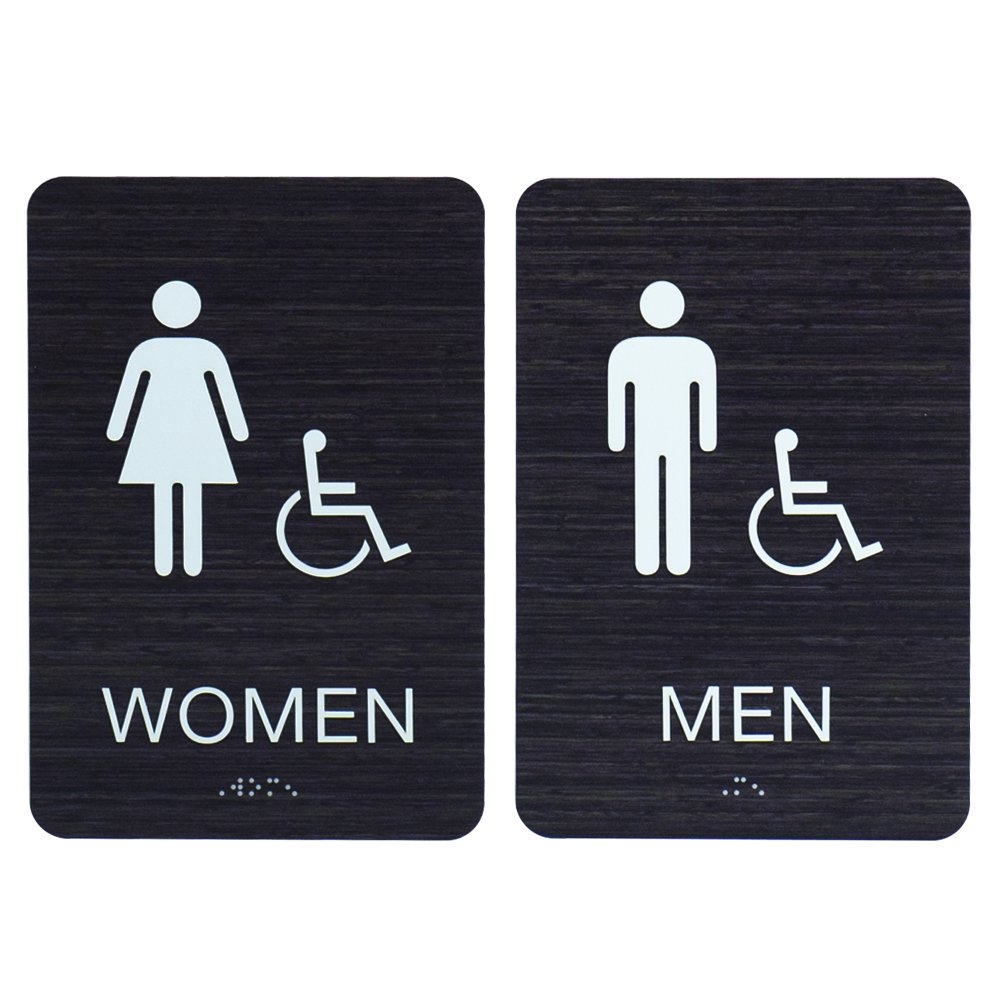 Men & Women ADA Restroom (Bathroom) Signs w/Braille (Modern Chic Dark Woodgrain) With double sided 3M tape - Made in USA