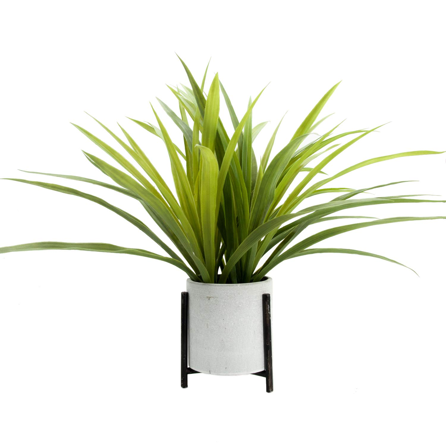 Velener Artificial Potted Long Leaf Plant with Metal Stand for Home Decor (Orchid Leaf) by velener