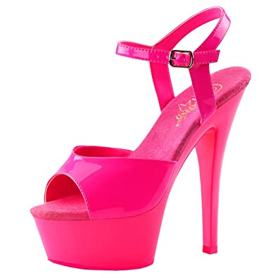 bbec3bec1d98 Womens Pink Sandals UV Blacklight Reactive Neon Shoes Open Toe Hot 6 Inch  Heels Size