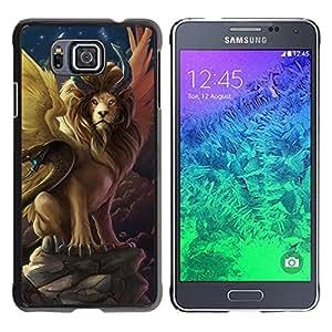 Paccase / SLIM PC / Aliminium Casa Carcasa Funda Case Cover - Lion Snake Ancient Symbols Now Moon - Samsung GALAXY ALPHA G850