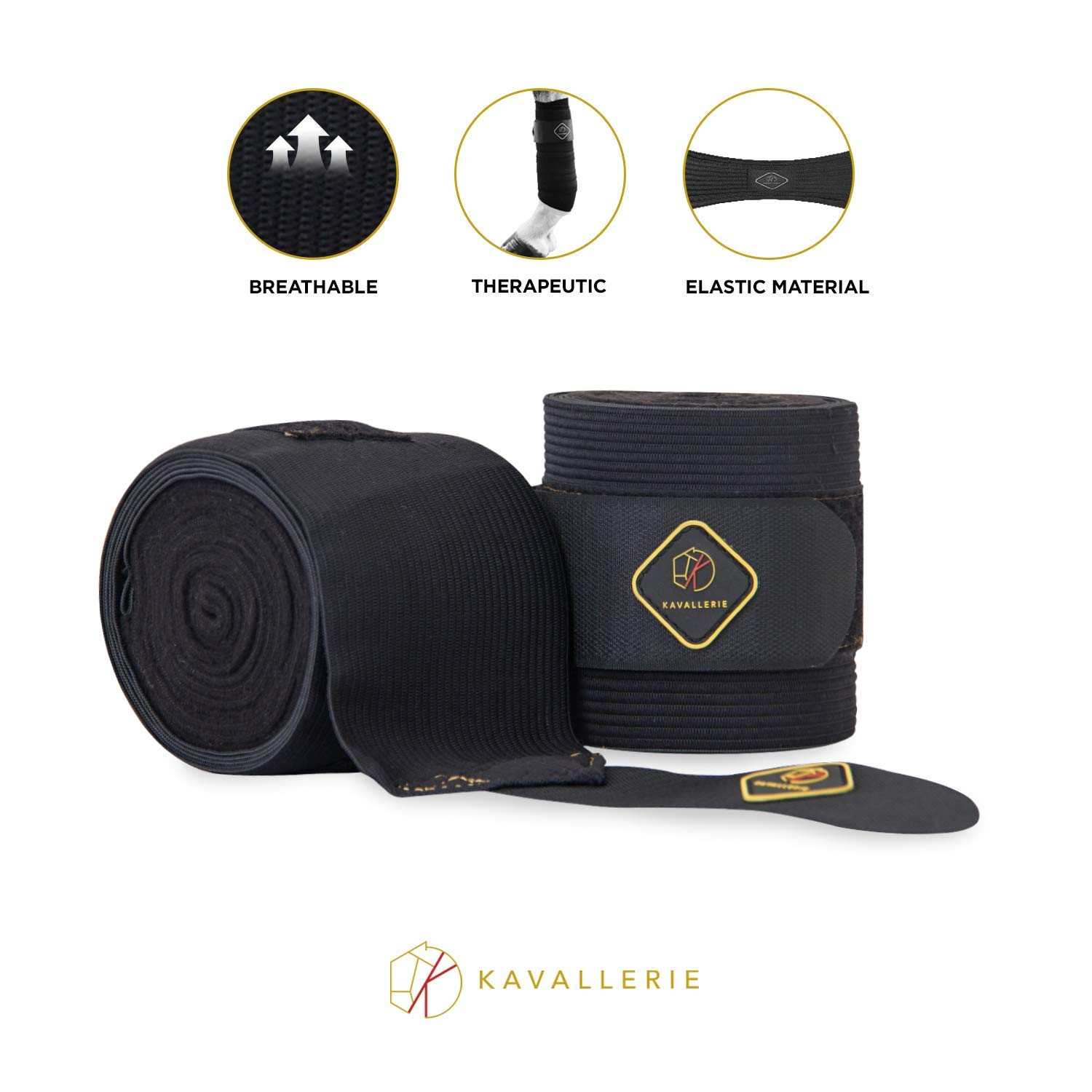 Kavallerie Elastic Fleece Polo Wraps for Horses, Non- Slip Bandage and Snug fit Breathable Material for Injury Protection and Superior Legs Support, Stocking up Solution-Black