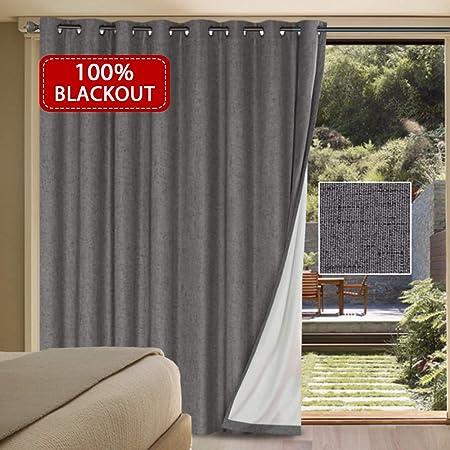 H.VERSAILTEX: cortina de lino sintético para puerta corredera de jardín, impermeable, cortinas más anchas 100