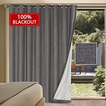Amazoncom Hversailtex 100 Blackout Textured Linen Patio Door