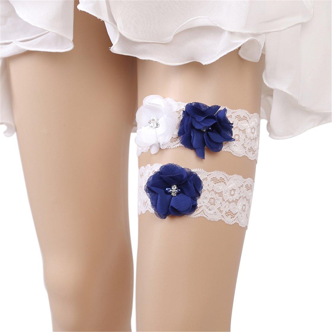 Flower Lace Wedding Garter Belt Set Vintage Beaded for Bridal (J058)