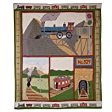 Patch Magic King Train Quilt, 105-Inch by 95-Inch