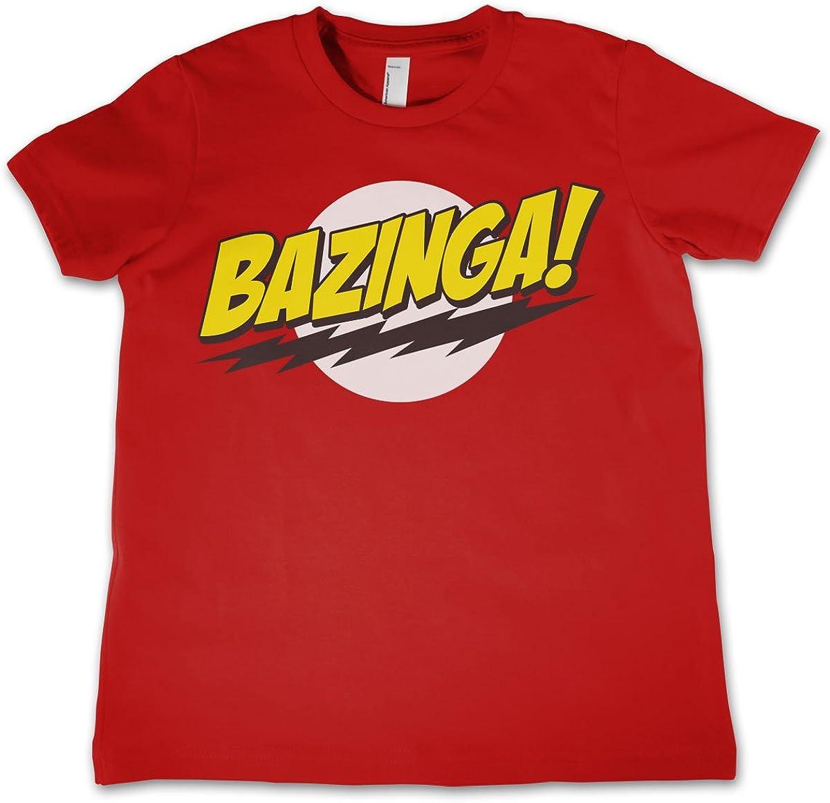 Rossa et/à 3-12 Anni Big Bang Theory Licenza Ufficiale Bazinga Super Logo Maglietta Unisex Bimbo