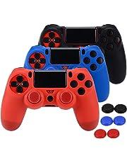 Asiv 3 Pcs Housse de Protection en Silicone Anti-Dérapant pour Sony PS4/SLIM/PRO Controller + Thumb Grip Pouce Poignées x 6 (Noir + Rouge + Bleu)