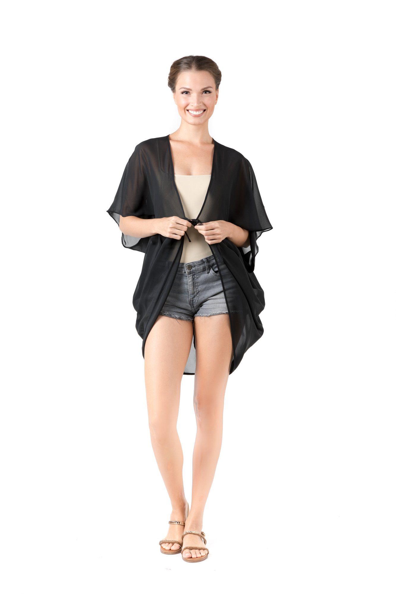 Women's Swimsuit Cover up Sheer Pleated Chiffon Loose Kimono Cardigan Blouses (2XL, Black)