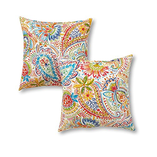 "Greendale Home Fashions 17"" Outdoor Accent Pillows in Painted Paisley (Set of 2), Jamboree"