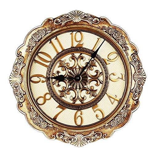 Cai 置き時計掛け時計-レトロヨーロッパスタイルミュート壁時計ロビーオフィスベッドルームは豪華な壁時計です B07C5GFMS3
