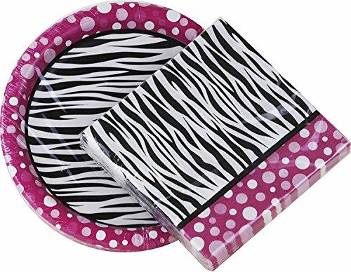 Pink Polka Dot Zebra Print Paper Plates & Napkin Set (Dessert Plates and -