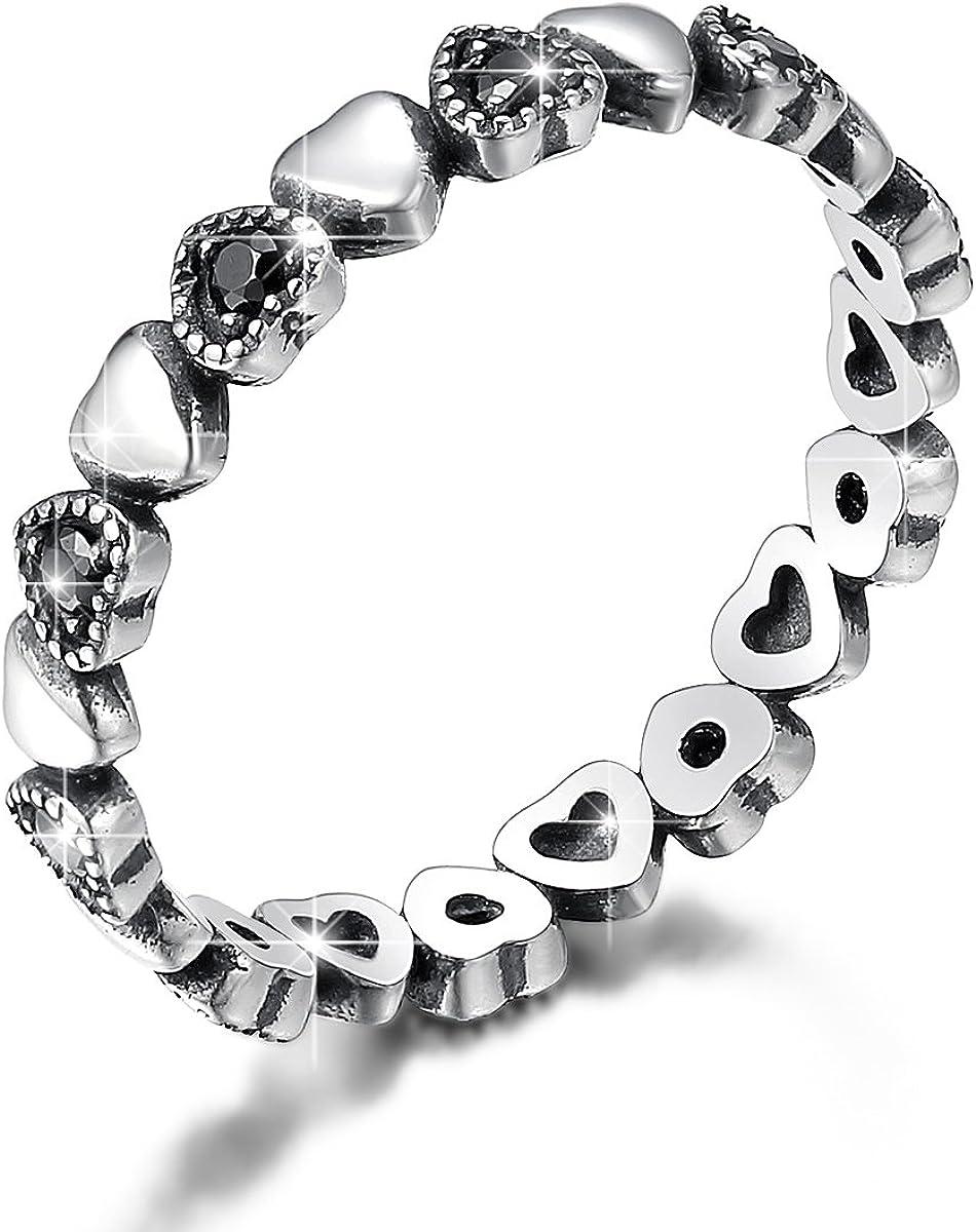 BAMOER 925 Sterling Silver Endless Love Heart Ring Stackable Finger...