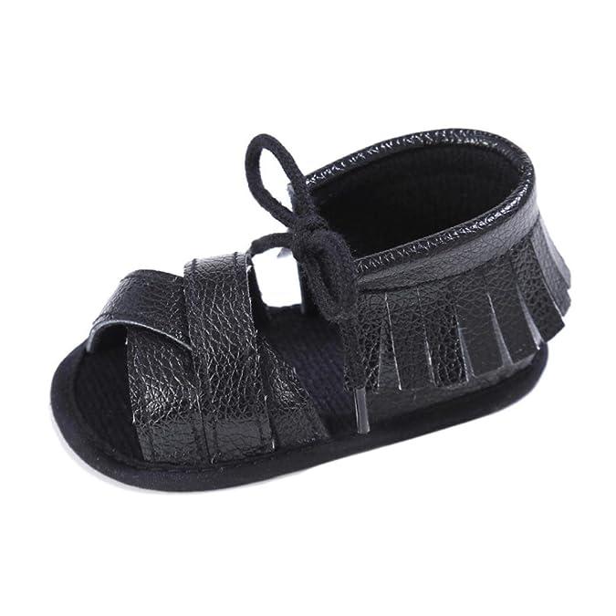 Koly_Newborn Ragazze Ragazzi greppia scarpe morbide suola antiscivolo sandali del bambino Sneakers nappa (SIZE 11, Nero)