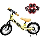 DABADA(ダバダ) ペダルなし自転車 減速ブレーキ付 スタンド付 ノーパンクタイヤ プロテクター付き 全7色 6ヵ月保証付き キックバイク キッズバイク バランス トレーニング バイク 幼児用 子供用 乗用玩具 ランニングバイク 子供用自転車 男の子 女の子 プレゼント 誕生日 (イエロー)