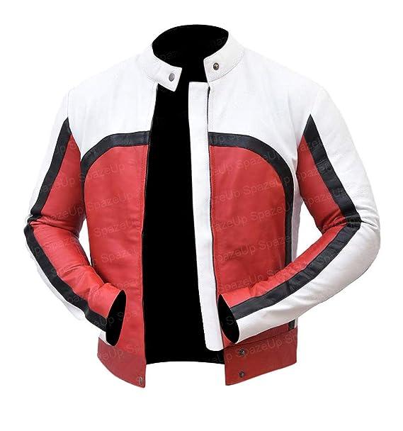 Amazon.com: Freddie Mercury Chaqueta de cuero rojo y blanco ...