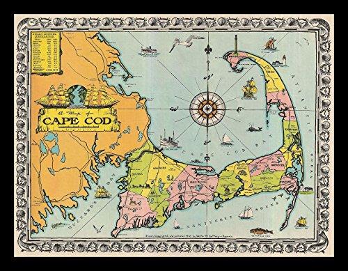 - Buyartforless IF IF CCA3005X 16x12 1.25Blk Plexi Framed 1932 Walter M Gaffney Map of Cape Cod Art Print Wall Decor, 16