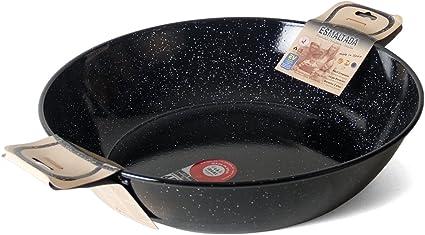 Garcima 5020016 Sartén Doble Honda con Asas Esmaltada 50 cm, Acero, Negro