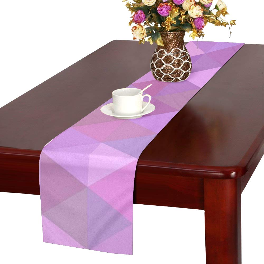 Jnseff Triangle Design Color Polygon Mosaic Table Runner, Kitchen Dining Table Runner 16 X 72 Inch For Dinner Parties, Events, Decor