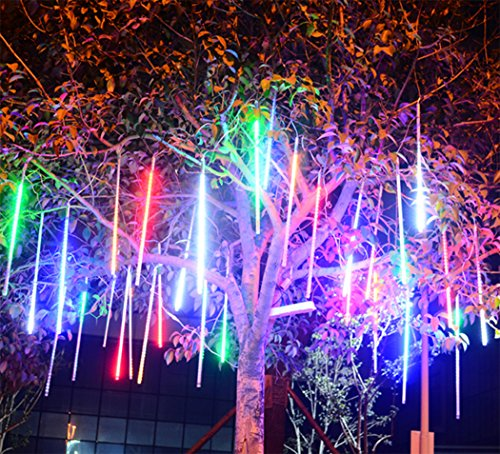 Falling Rain Lights for Christmas,Waterproof LED Meteor Shower Lights with 30cm 8 Tube 144 LEDs,Falling Rain Drop Christmas Lights,Icicle String Lights for Christmas Tree Decoration (Multicolor)