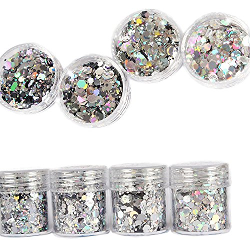 DaLin 8 Boxes Gold Silver Holographic Chunky Glitter Sequins Iridescent Flakes Ultra-thin Tips Colorful Mixed Paillette Festival Beauty Makeup Face Body Hair Nails Cosmetic Glitter (Color 4) by DaLin Temporary Tattoo (Image #1)