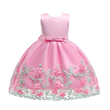 3a9ea10367afe Dinlong Newborn Baby Girls Clothes Floral Princess Tutu Dress Wedding  Bridesmaid Pageant Gown Birthday Party Formal