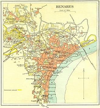 BRITISH INDIA Benares Varanasi City PlanGanges Temples - Varanasi map
