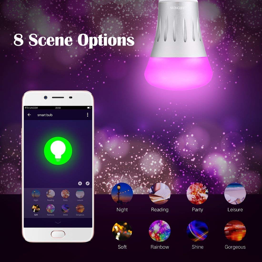 Smart Bulb LED Compatible with Alexa Echo, Google Assistant, WiFi Supported - Multi Color - Dimmable - No Hub Required - 10W (80W Equivalent)
