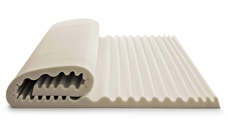 Beige Doppio Talamo Italia Topper Rinnova Materasso Sensation in Memory Foam con Effetto micromassaggiante 7 Zone Alto 5cm Made in Italy Matrimoniale 160x190 cm