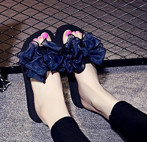 Fleurs Tongs 1 été Boho Plage YOUJIA Sandales Compensées Plateforme Bleu Femme EzRnWqB