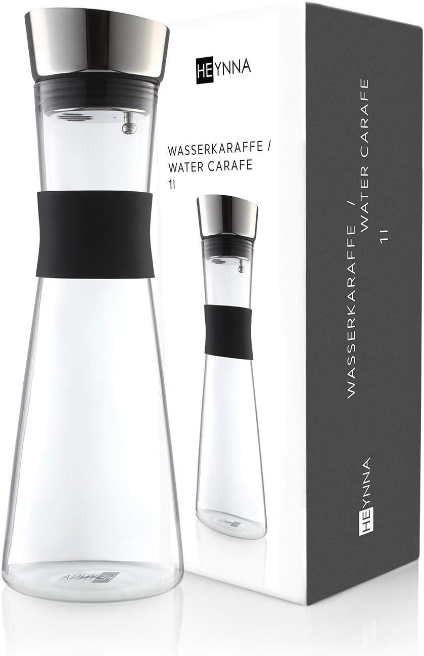 HEYNNA® Botella de Agua de Cristal / Jarra de Agua de Cristal Premium con Boquilla de Acero Inoxidable y Empuñadura de Sujeción de Silicona – 1L – Botella de Cristal de Borosilicato
