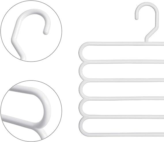 Krawatten und Handt/ücher f/ür Hosen Mehrfach-Kleiderb/ügel im Kleiderschrank aus Kunststoff Schals SONGMICS Hosenb/ügel platzsparend wei/ß CRP051W4 4er Set robust und gut belastbar
