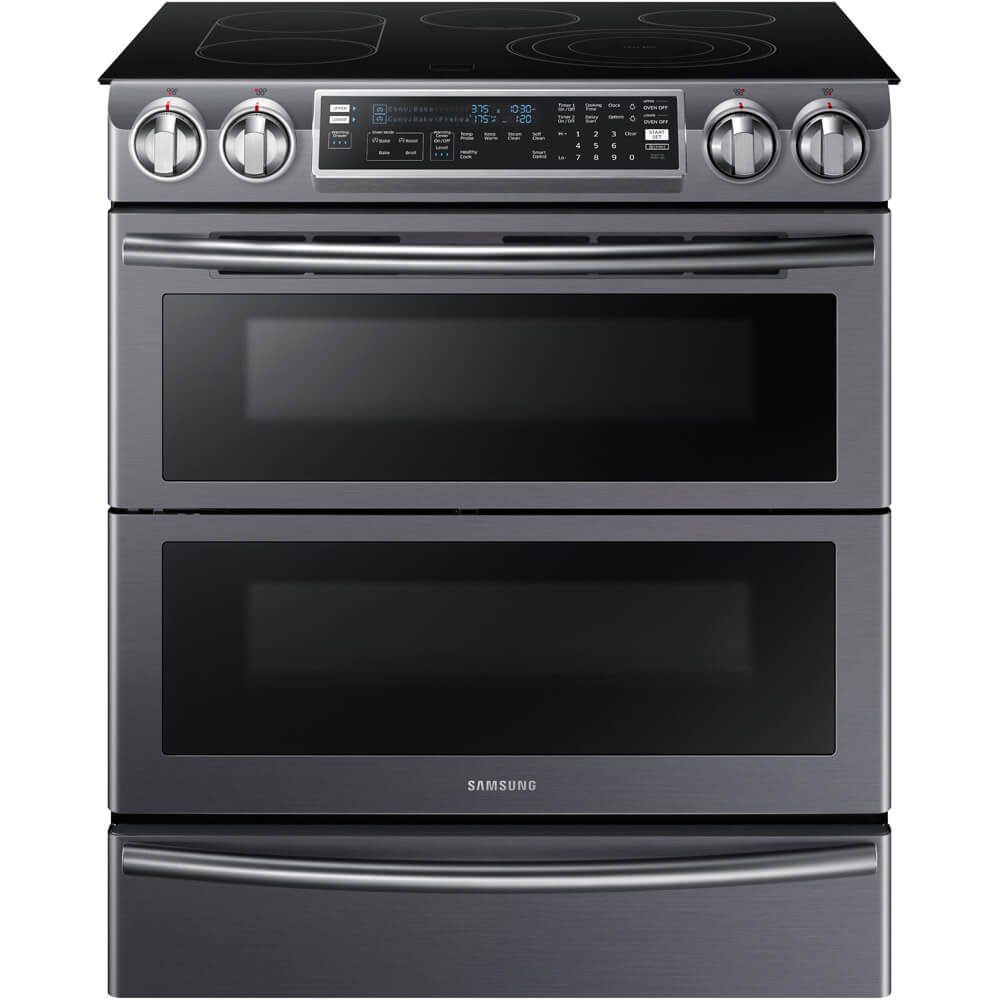 "Samsung NE58K9850WG 30"" Slide-in Electric Range with Smoothtop Cooktop, 5.8 cu. ft. Primary Oven Capacity, in Black Stainless Steel"