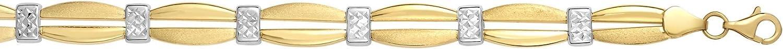 Finejewelers 14 Kt Two Tone Gold 7.25 Inch Textured Fancy Double Bar Bracelet Pear Shape Clasp.