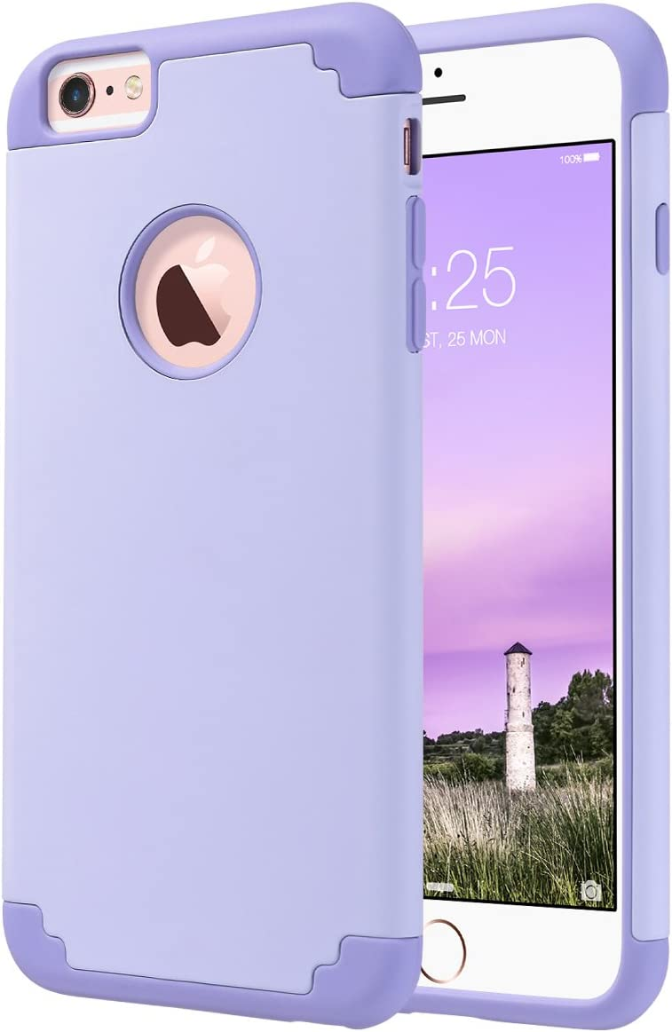 ULAK iPhone 6 Plus Case, iPhone 6S Plus Case,Thin Dual Layer Soft Silicone Skin Hard Back Cover Anti Scratches Bumper Protective Case for Apple iPhone 6 Plus/6S Plus 5.5 inch - Lavender