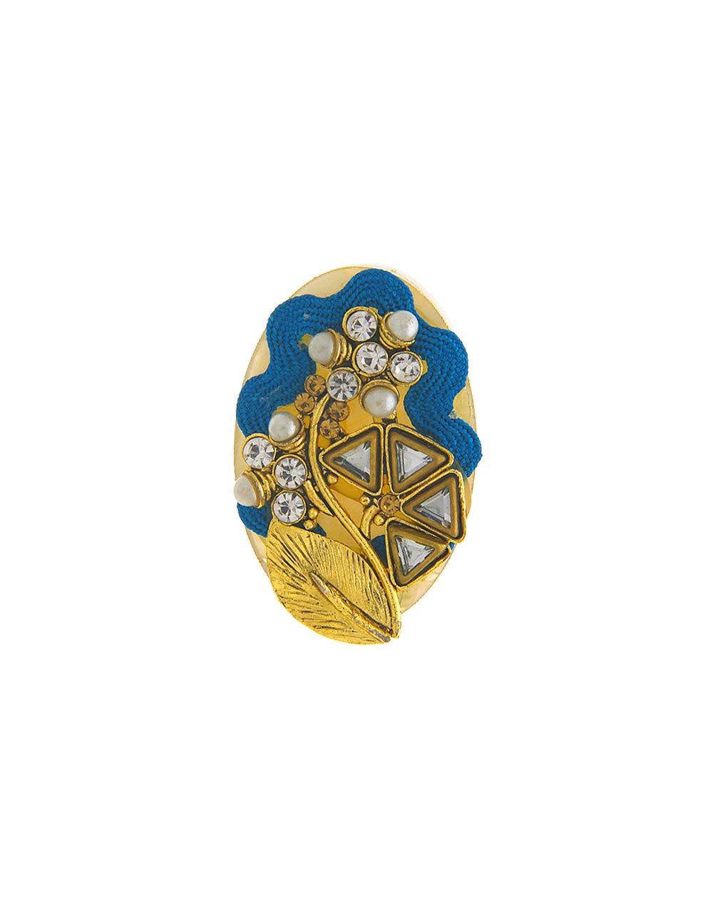Anuradha Art Sky-Blue Colour Oval Shape Wonderful Designer Saree/Sari Pin for Women/Girls