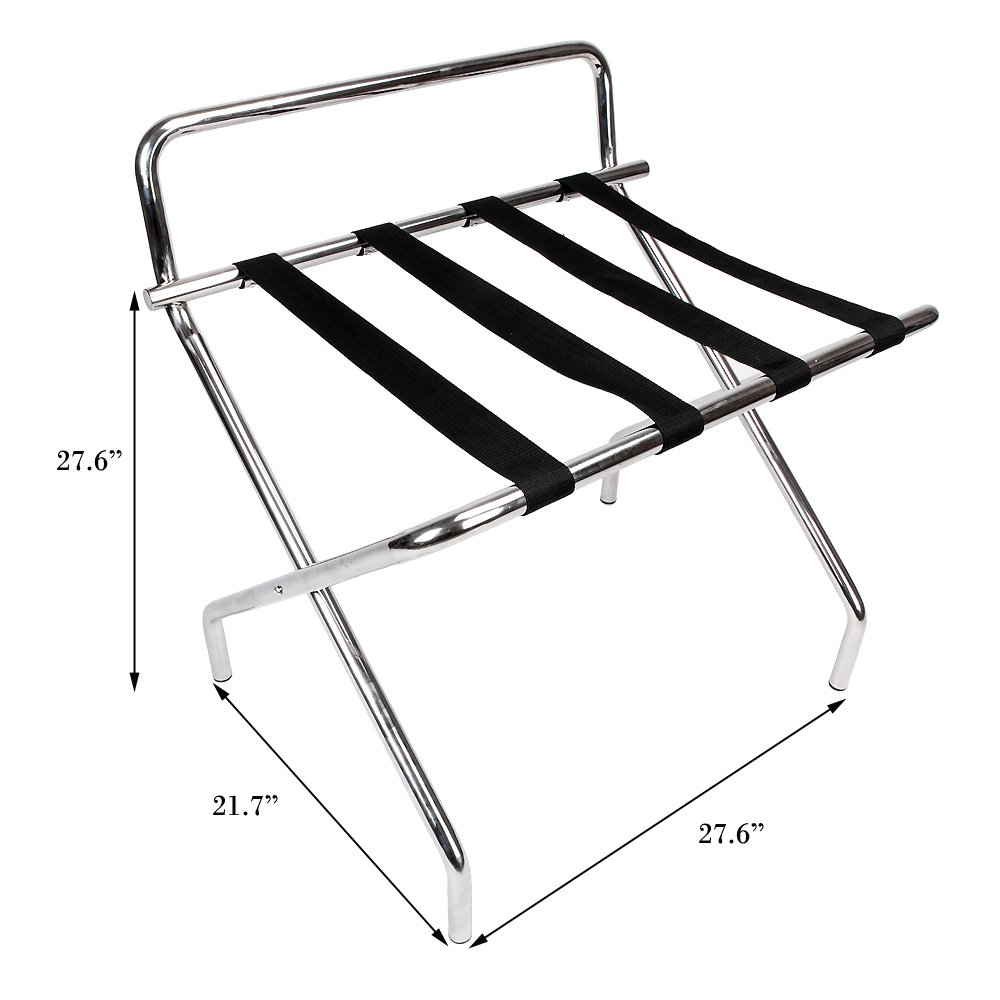 Cu Alightup Wall Saver Middle Back Stainless Steel Portable Metal Folding Luggage Rack Stand Suitcase Organization Shelf With Backrest & 4 Nylon Belts for Bedroom Hotel