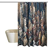 Denruny Shower Curtains for Bathroom with NYC,Aerial View Streets Building,W48 x L72,Shower Curtain for Girls