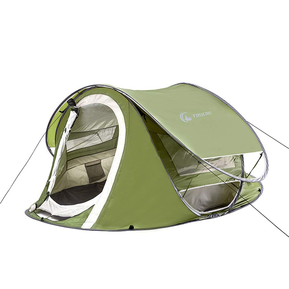 Camping Zelt, 2-3-4 Automatische Faul Zelt, DoppeltüR Insektenschutz Wasserdicht Tragbaren Insektenschutz DoppeltüR Atmungsaktiv Zelt, Outdoor-Wandern Strand Angeln Markise (GrüN) Nanayaya 88c486