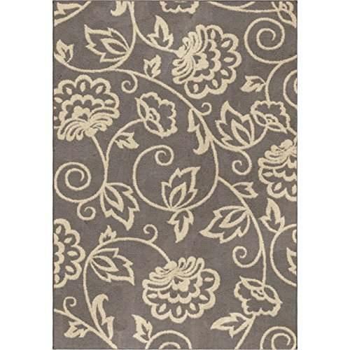 (Orian Rugs Plush Floral Abby Grey Area Rug (5'3