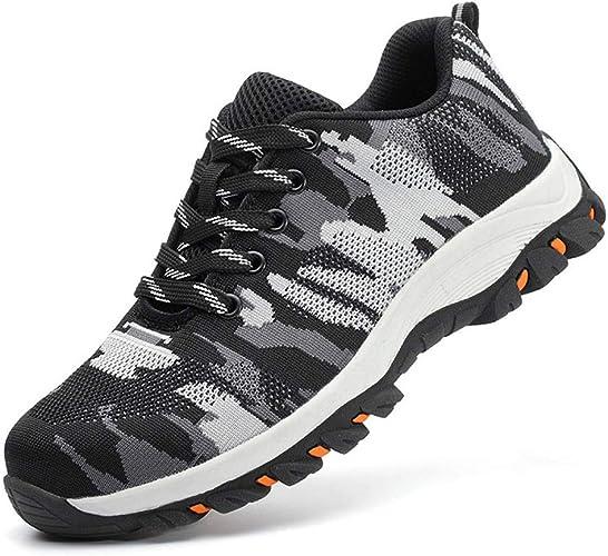 Axcer Hombre Industria Construcción Zapatillas de Seguridad con Puntera de Acero Antideslizante Transpirable S3 Zapatos de Trabajo Comodas Calzado de Trabajo Deportivos de Protección: Amazon.es: Zapatos y complementos